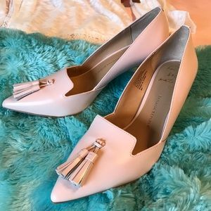 Pink leather Tassel Pumps by Banana Republic